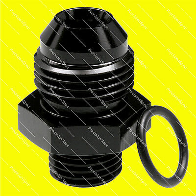 AN8 Male Flare to AN6 O-ring Boss Straight Aluminium Fitting Adapter - Black