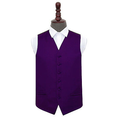 "New DQT Plain Purple Mens Wedding Waistcoat Size 36"" - 50"""