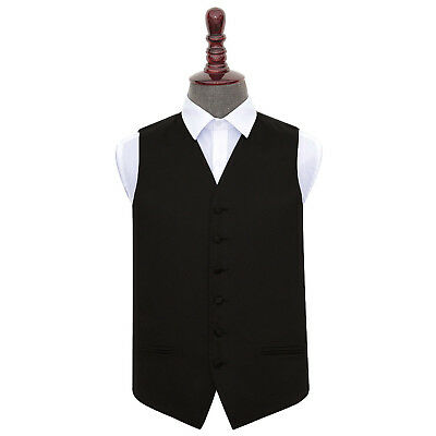 "DQT Plain Solid Black Vest Men's Wedding Waistcoat Size 36""-50"" + FREE Bow Tie"