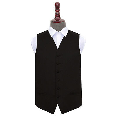 DQT Satin Plain Solid Black Formal Tuxedo Mens Wedding Waistcoat S-5XL +FREE Bow