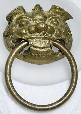 Vintage Figural Brass Asian Grinning FOO DOG Ring Drawer Pull