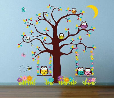 Owl Scroll Tree Hoot III Wall Decal Art  Nursery Stickers Removable Baby Decor