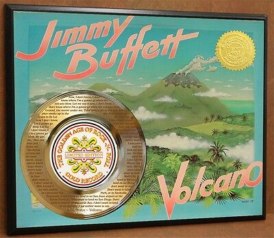 """JIMMY BUFFETT """"VOLCANO"""" LIMITED  Etched Poster Art Gold Record Free Shipping"""