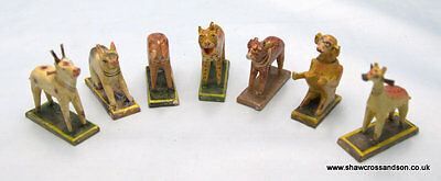 Set of 7 Antique / Vintage Indian Hand Painted Animals