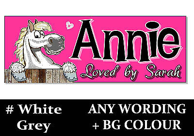 White Grey HORSE PONY cartoon name Sign Plaque Stable door tack room gift idea *
