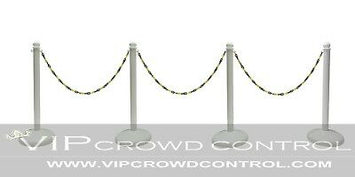Plastic Stanchion Heavy Duty 4 Pcs Set + 50' Black/yellow Chain Color In White