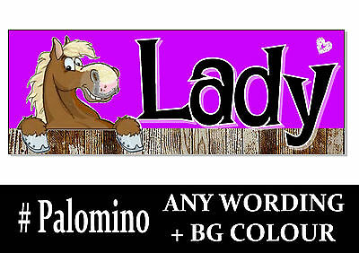 Palomino blonde HORSE PONY cartoon name Sign Plaque Stable door tack room rug *