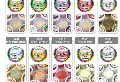 Rainbow Dust Edible Silk Pearl Sparkle Glitter Lustre 100% Edible Cake Powder