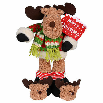 """16 """" Standing Plush Reindeer Xmas Decoration With Red Merry Christmas Sign"""