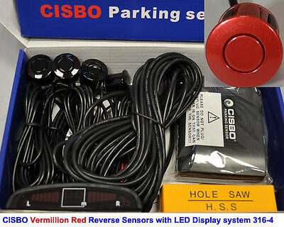CISBO Vermillion Red Colour Reverse Parking Sensor Kit Buzzer Alarm LED Display
