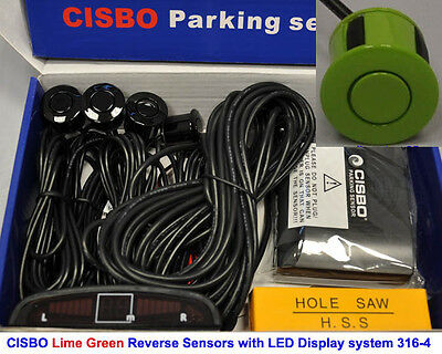 CISBO Lime Green Colour Reverse Parking 4 Sensor Kit Buzzer Alarm LED Display