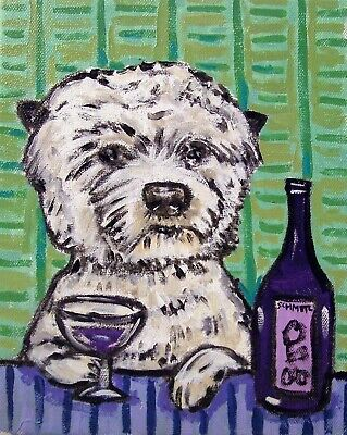 WINE art with west highland white terrier dog PRINT 8x10 JSCHMETZ modern folk