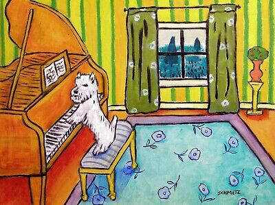 WEST highland white terrier westie dog art PRINT piano JSCHMETZ 13x19 modern