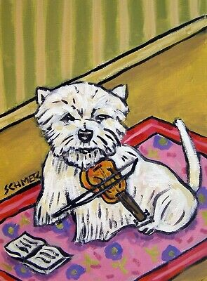 VIOLIN art westie west highland white terrier dog PRINT JSCHMETZ modern 8x10