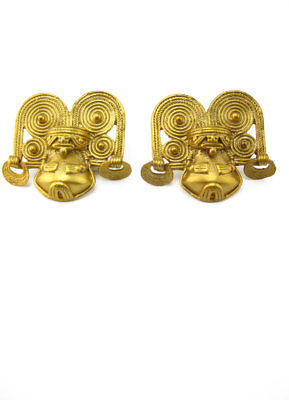 ACROSS THE PUDDLE 24k GP Pre-Columbian Shaman with Crown Drop Earrings