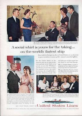 1963 United States Lines Cruise Ship  Dining PRINT AD