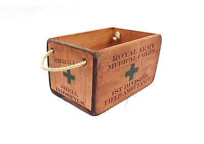 Vintage antiqued wooden box, crate, trug, World war field,dressing first aid box