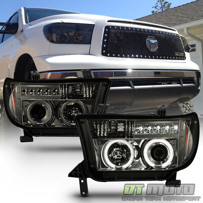 Smoked 07-13 Tundra Sequoia Halo Projector Headlights +Daytime LED Running Light