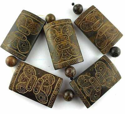 38x60mm Carved Coffe Jade Rectangle Loose Gemstone Beads 15''