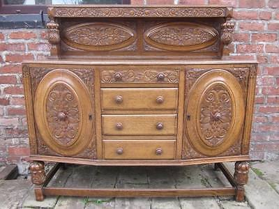 Antique Early 20th C (c1929) Oak Galleried Sideboard, Heavily Carved Throughout.