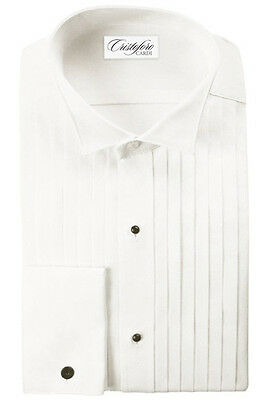 Ivory Wing Collar with 1/2 Inch Pleats Tuxedo Shirt by Cristoforo