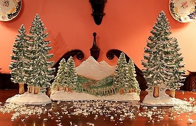 "LIGHTED PAIR OF CERAMIC FIR MANTEL TREES  13"" NEW"