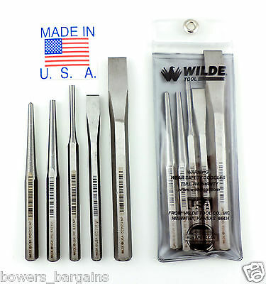 Wilde Tool 5pc Punch & Chisel Set MADE IN USA Professional High Carbon Steel