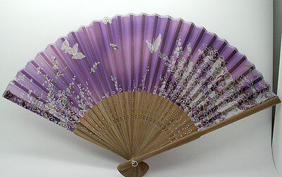 Chinese Japanese Silk Bamboo Folding Floral Butterfly Pocket Hand Fan -Purple