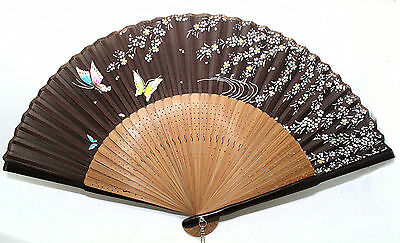 Chinese Bamboo Folding Silk HAND FAN with Flower Wedding Party Gift-Brown