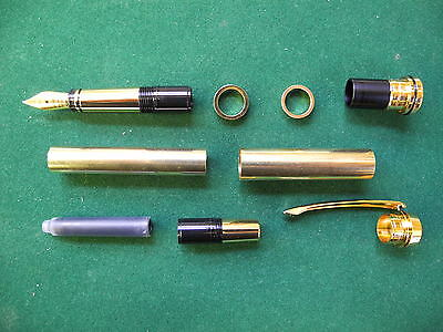 Woodturning GENTLEMENS Fountain Pen Kit in Gold