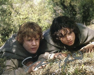 Elijah wood & Sean Astin Signed Lord of the Rings Photo Frodo With COA + proof.