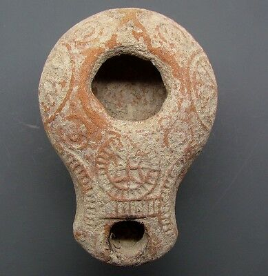 ancient early samaritan terra cotta unique oil lamp   decorated v. good .rare