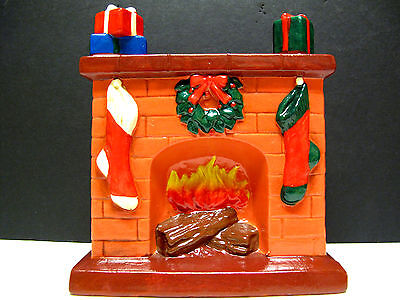 Rare Vintage CHRISTMAS Holiday Fireplace Stockings Reef STILL BANK