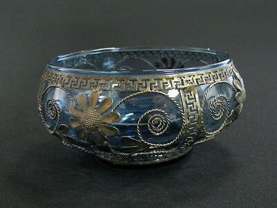 ANTIQUE BEAUTIFUL SUGAR CANDY BOWL FILIGREE METAL BLUE GLASS FLORAL MOTIVES x