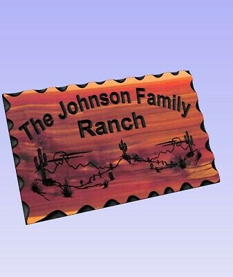 Personalized Custom Carved Wood Sign - Routed Redwood Rustic Plaque Desert Scene