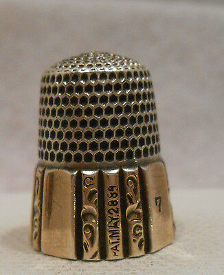 Antique 925 Sterling Silver & 14K Gold Thimble by Simons Bros Co. *Circa 1880s