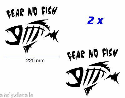 FEAR NO FISH - Fishing Boat, Tackle Box, Car, Window Vinyl Decal Sticker