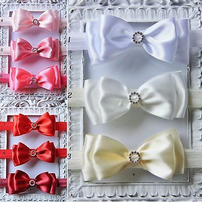 Baby Girls Bow Headband Satin Bow Elastic Hairband Wedding Christening Party