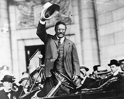 New 8x10 Photo: President Theodore Roosevelt in Car, Waving to Crowd with Hat