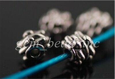 100pcs Charms Tibet Silver Crafts Jewelery Findings Spacer Rondelle Beads 5x4mm