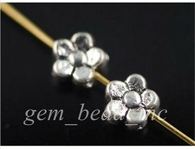 100Pcs Charms Tibetan Silver Craft Jewelery Finding Spacer Flower Beads 5mm