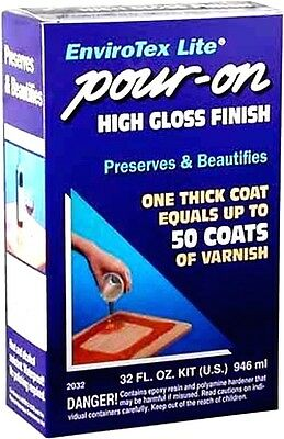ENVIROTEX Lite Pour-On High Gloss Finish 32oz Preserves Surfaces 8sqft Wood 2032