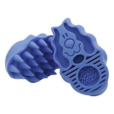 Kong Zoom Groom Boysenberry Dog Rubber Wet or Dry Bathing or Shedding Brush Comb