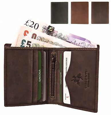 Small Visconti Mens Hunter Distressed Oiled Leather Wallet Genuine ARROW 705