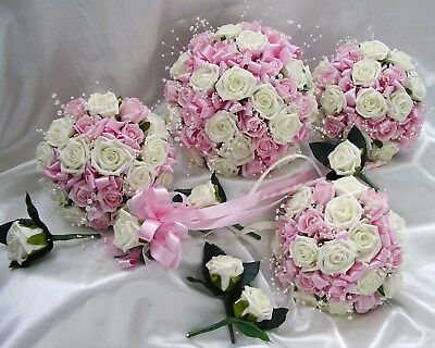 Wedding Flowers Wedding Bouquet Brides Bouquet 2 Wands 3 Posies 5 Buttonholes