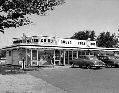 1950's Dairy Queen Large Photo 11X14 - Ice Cream Diner Restaurant