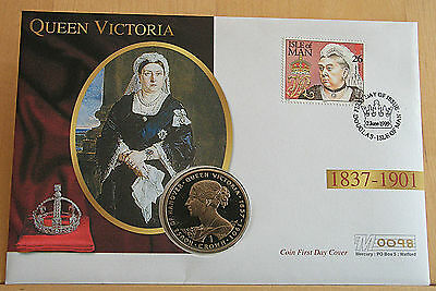 Coin Cover: Queen Victoria 1999 Isle of Man First Day Cover Gibraltar Crown PNC