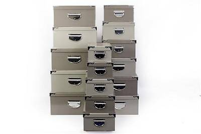 Big Metal Handle Grey Strong Cardboard Craft A4 Paper Home Office Storage Boxes