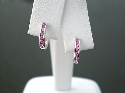 Select Your month gemstone.925 Sterling silver 10mm Baby Channel Set huggies