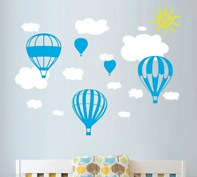 5 x Hot Air Balloons Wall Stickers + 13 Clouds Nursery Baby Boys and Girls
